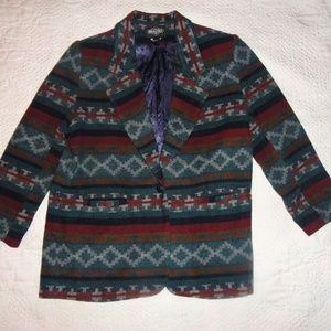 Vintage Womens One Button Blazer Oversized XL Wool